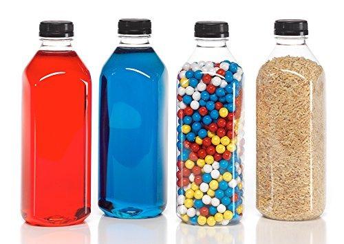 (6) 32 oz. Clear Food Grade Plastic Juice Bottles with Tamper Evident Caps 6/pack (32OZ, Black lids)