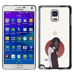 Caucho caso de Shell duro de la cubierta de accesorios de protección BY RAYDREAMMM - Samsung Galaxy Note 4 - Gasmask Emo Chica