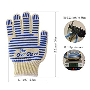 BBQ Grill Gloves, Oven Heat Resistant Cooking Gloves for Barbeque Grilling Frying Baking Smoking Potholder Leedemore, Set of 2 Blue