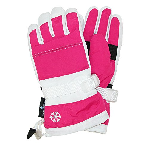 Price comparison product image Grand Sierra Girls' 7-16 Snowboard Waterproof Glove, Pink and White