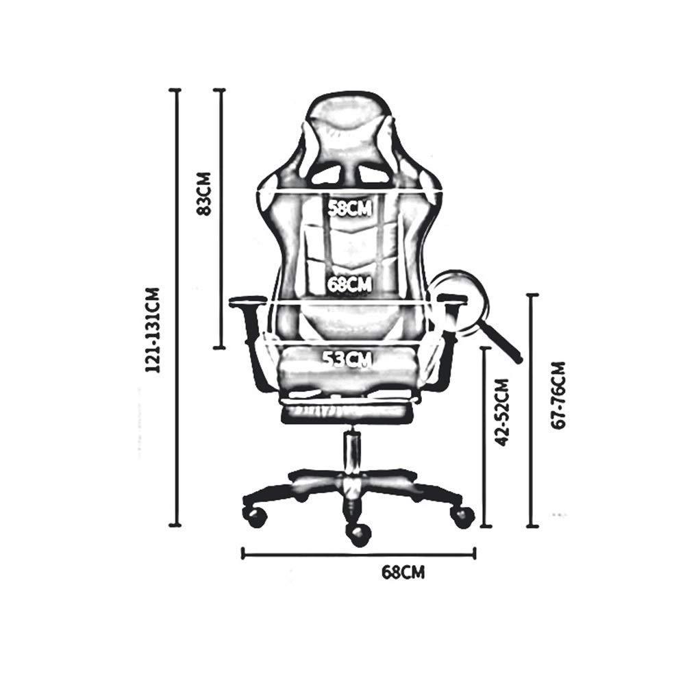 JIEER-C stol E-sportstol, tävlingsstil spelstol ergonomi med fotstöd vilande lat spelsäte med nackstöd och massage korsryggskudde, svart röd Geometry