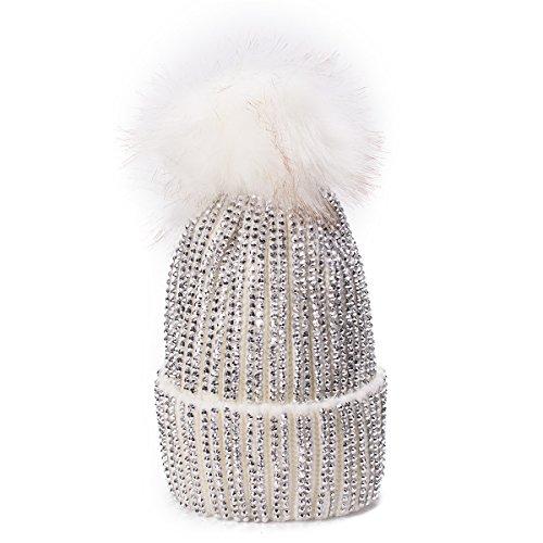 Lawliet Womens Faux Fur Pom Pom Beanie Ski Hat Cap Slouchy Knit Warm A469 (White)