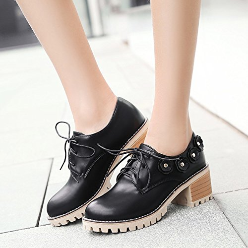 Oxfords Mofri Heel Block Sweet Studded Black Lace Shoes Low Medium up Women's Solid Top Color Stacked Flowers Platform wFgpISq