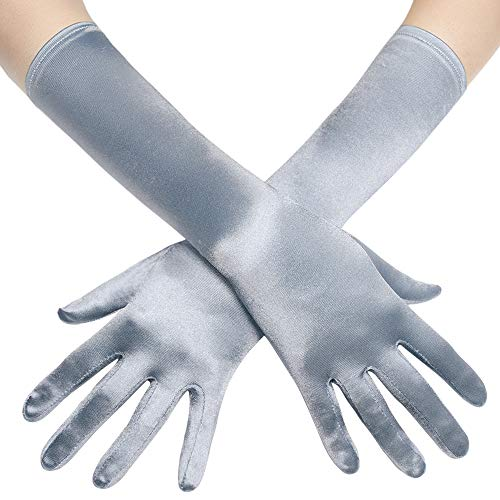 BABEYOND Long Opera Party 20s Satin Gloves Stretchy Adult Size Elbow Length 15 Inches (Silver)