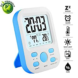 Digital Alarm Clocks for Bedrooms, Light Table Clock for Kids, Adults, LCD Clock Display with Snooze/Time/Humidity/Temperature Functions, 12hr/24hr Blue