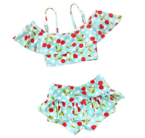 Taiycyxgan Girls Cherry Two-Pieces Bikini Set Beach Slip Tops Swimwear,Small / 3-4 Years,Blue ()