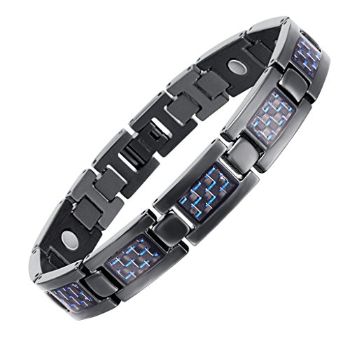 Rainso Mens Titanium Magnetic Therapy Carbon Fiber Black Bracelets for Arthritis Wristband Adjustable (Blue) (Fiber Carbon Bracelets)
