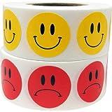 Amarillo Smiley y Rojo Triste Cara Circulo Punto Pegatinas Paquete, 1,91 Centímetros (3/4 Pulgada) de la Ronda, 500 Etiquetas de Cada Cara en un Rollo