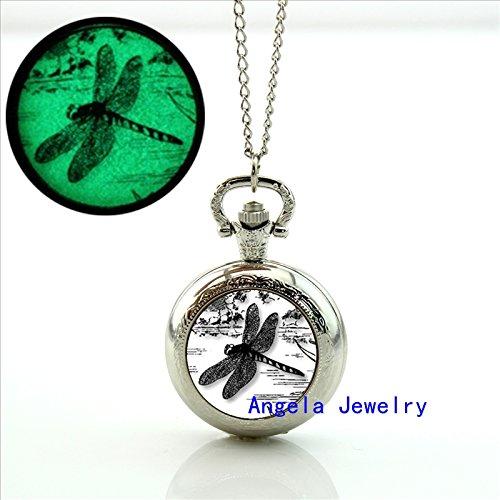 (Pretty Lee Fashion Glow in The Dark Jewelry Dragonfly Silhouette Pocket Watch Dragonfly Silhouette Locket Necklace)