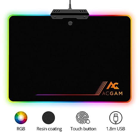 ACGAM P09 Gaming Mauspad mit RGB Beleuchtung/Chroma-Effekt (6 LED Farben / 9 Beleuchtungs-Modi/USB/Harte Oberfläche) Desk Ant