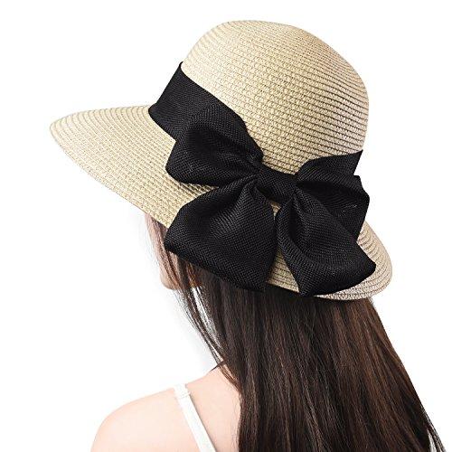 (Jogoo Women Sun Beach Hats,Wide Brim Straw Hat,Unique Windproof Strap Design,FashionableBig Bowknot,UPF 50+. )