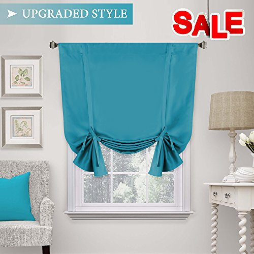 blackout tie up curtain energy efficient window shades adjustable height rod pocket panel for bedroom living room turquoise blue 42w x 63l - Blue Curtains For Living Room