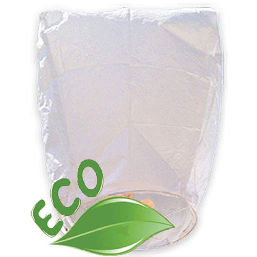 Just Artifacts ECO Wire-Free Flying Chinese Sky Lanterns (Set of 10, Eclipse, White) - Biodegradable, Environmentally Friendly Lanterns!