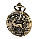 TREEWETO Vintage Pocket Watch Mechanical Double Cover Hollow Case Skeleton Steampunk Deer Case Men Women, Bronze