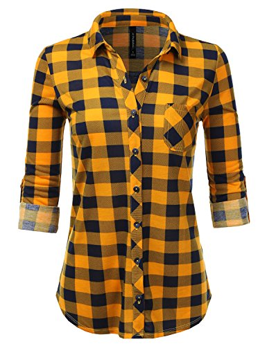 (JJ Perfection Womens Long Sleeve Collared Button Down Plaid Flannel Shirt? Mustardnavy 3X)