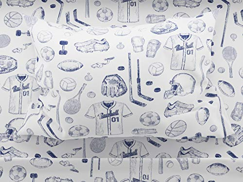 Where The Polka Dots Roam Sports Sheet Set, Full Size for Football, Baseball, Basketball, Soccer, Tennis, Hockey, Track in Blue and - Football Set Bedding Bed Sheets