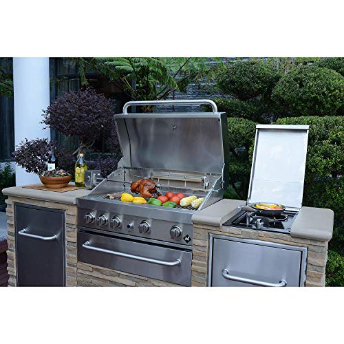 Member's Mark SS304 Stack Stone BBQ Grill Island w/Trash Bin - Natural Gas