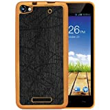 Casotec Electroplated Edge Chrome TPU Leather Back Case Cover for Micromax Canvas Hue 2 A316 - Black