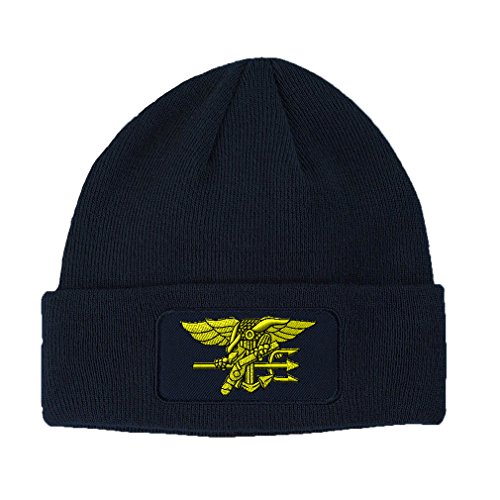 Yellow Navy Seal Logo Embroidery Design Double Layer Acrylic Patch Beanie Navy (Navy Seal Beanie Hat)