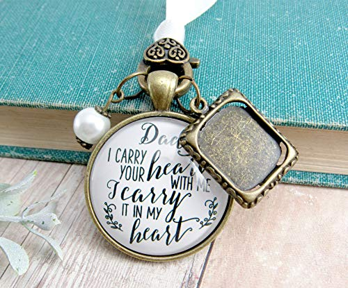 - Photo Bouquet Charm Dad I Carry Your Heart Memorial Jewelry Gift Bride's Father Remembrance Wedding Keepsake