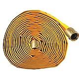 Key Fire Single Jacket Fire Hose, Yellow, 1-1/2'' ID, 100 feet, 650 PSI Burst Pressure, M x F NST Brass Connectors