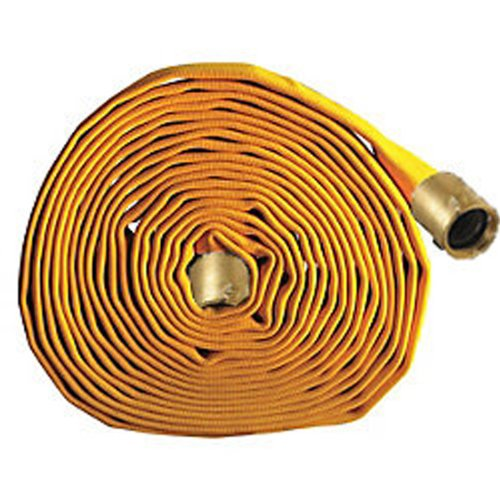 Key Fire Single Jacket Fire Hose, Yellow, 2-1/2'' ID, 50 feet, 650 PSI Burst Pressure, M x F NST Brass Connectors