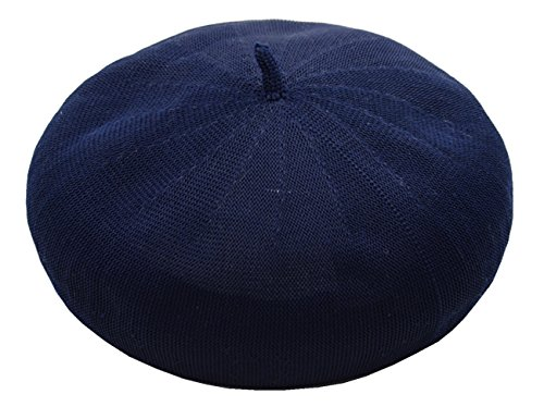 Joyhy Women's Solid Summer Breath Knitted Artist French Beret Hat Navy