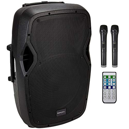 "Knox Portable 15"" Speaker – 300 Watt Rechargeable Wheeled PA System with Luggage Handle – Includes Microphone, Tripod, Remote - Bluetooth, USB, SD Card, XLR Mic, FM Radio and 1/4"" Inputs from Knox Gear"