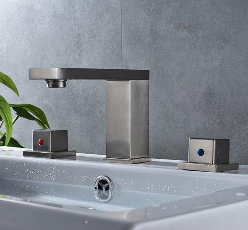 CZOOR Nickel gebürstet Messing Weiß verbreitete 3-tlg Badezimmer Waschbecken Wasserhahn Dual Griffe Countertop Mischbatterie, Nickel 3