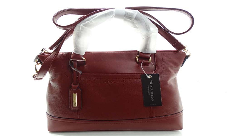 Tignanello Smooth Operator Convertible Satchel Top Handle Bag Oxblood