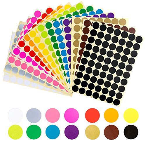 Color Dot Stickers (3920 pcs 3/4