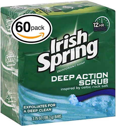 Irish Spring Bar Soap 60 Bars, 3.75oz 106.3gr Each Bar, Moisture Blast
