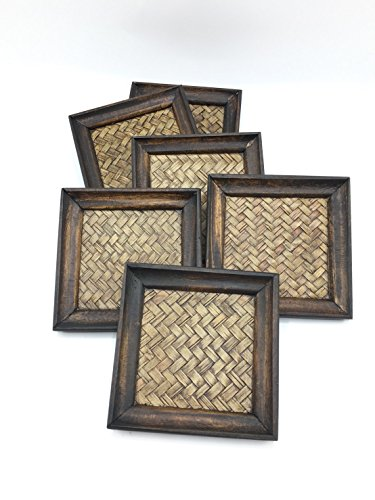 - Eco Creation Premium Natural Wood Coaster Set (6 Pack) Wooden Coasters Saucers Set for Office, Bar Counter, Restaurant Or Party. Beautiful Decorative Pieces (Bamboo Square Shape)