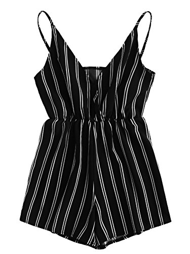 MakeMeChic Womens V Neck Cami Jumpsuit Striped Print Summer Sexy Short Romper