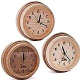 SAWO Sauna Wooden Clock Pine, Aspen or Cedar; Size: Ø 260mm; For Outside of Sauna Cabin Usage or Inside Infrared Sauna