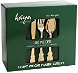 Plastic Silverware Set - 180 Pcs Disposable Gold Cutlery Set - 60 Plastic Forks, 60 Plastic Spoons, 60 Plastic Knives - Heavy Duty Bulk Flatware Party Utensils for Wedding, Birthdays & Other Occasions