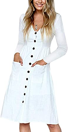 Vestidos de verano para mujer, casual, vestido midi de manga corta, vestido de camisa con cuello en V con botones y una línea de túnica con bolsillos