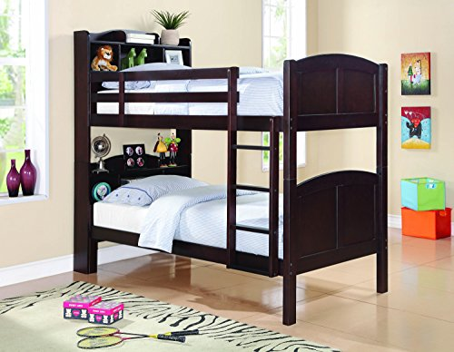 Coaster Home Furnishings Parker Twin Over Twin Bookcase Bunk Bed with Built-in Ladder Cappuccino