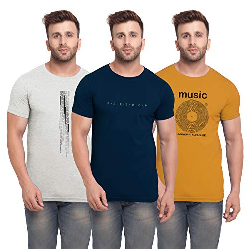 BULLMER Men's Regular Fit T-shirt (Set of 3)
