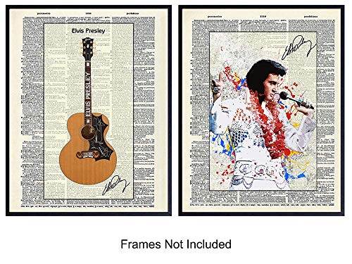 Elvis Presley, Guitar Dictionary Wall Decor Pictures Set - Gift for Country Music, Graceland Fans, Musicians, Guitarists - Upcycled Art Posters for Home, Office, Apartment, Bedroom, Living Room, Den