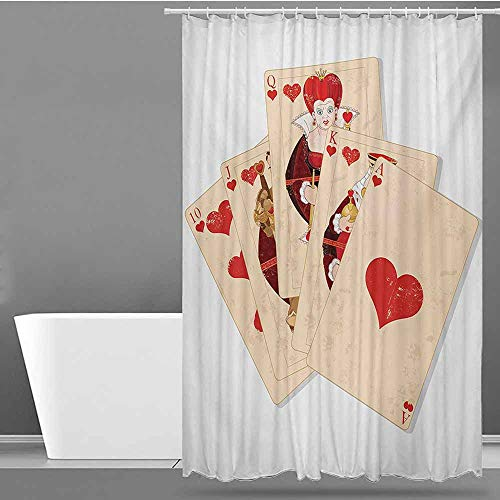 Tim1Beve Hotel Style Shower Curtain,Alice in Wonderland Crown Gambler Queen Hearts Royal Fairy Flush Face Magic Theme,Polyester Fabric Waterproof,W48x72L,Brown Red and Ecru