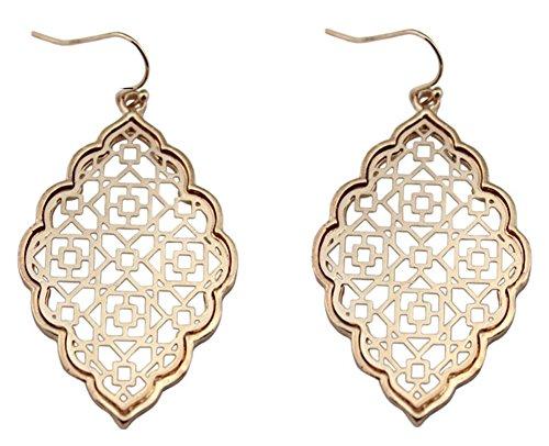 stylesilove Womens Trendy Two-Tone Moroccan Filigree Dangle Earrings (Rose Gold/Earrings)
