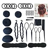 Hair Accessories Hair Styling Set Kit For Women Topsy Tail Hair Tools Haircut Clamp Women Girls Hair Bun Clip Maker Pads Hairpins Roller Braid Twist Sponge Hair Accessories for Hair Styles (Black)
