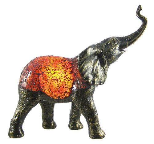 Glass Accent Lamps Amber Crackle Glass Elephant Accent Lamp Bronzed Base 5.5 X 12.5 X 13.5 Inches Amber by Zeckos