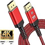 Snowkids 4K DisplayPort Kabel 2M (DP naar DP Kabel), DisplayPort naar DisplayPort Kabel (4K@60Hz,1440p@144Hz) High Speed Nylon Gevlochten DP Lead Ondersteunt voor Laptop PC TV etc-Gaming Monitor Kabel (Rood) 2m Rood