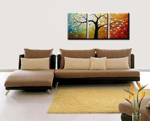 Amazon.com: Phoenix Decor Abstract Canvas Wall Art Oil Paintings On Canvas  For Home Decoration Modern Painting Wall Decor Stretched Ready To Hang 3  Piece ...