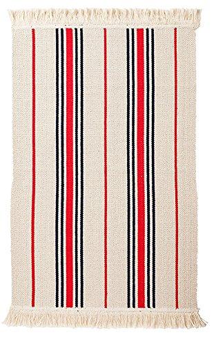 Ikea Flatwoven Area Kitchen Rug Stripes Cotton Red Black