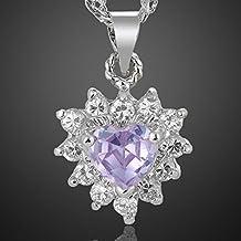 Generic Lady_Zircon_ Heart Pendant Necklace _White_ Gold _Filled_Light_Purple_Amethyst_Gift #NUN Necklace Pendant ear Heart Gold