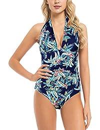 b26a516bef7 Women s Plunge Deep V Neck One Piece Swimsuit Halter Bikinis Monokinis  Shirred Details