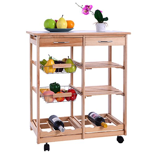 Kitchen Trolley Laminates: Giantex Rolling Wood Kitchen Trolley Cart Dining Storage